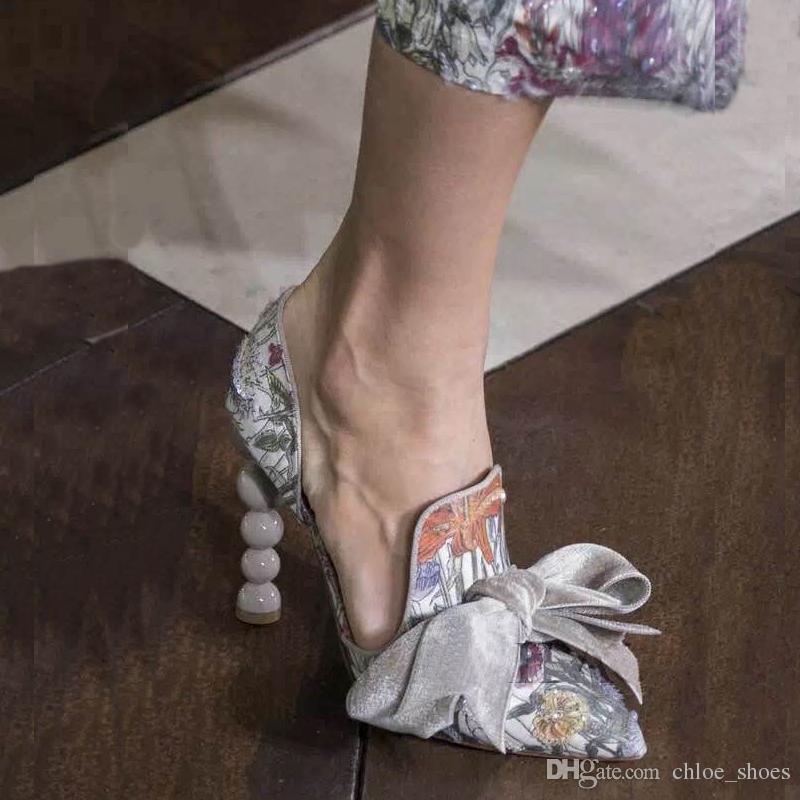 Pérolas Imprimir Bombas Mulheres Partido de Casamento Sapatos Stiletto Heel Bow Toe Pointed Toe The Single T Mostrar Bombas Exclusivo Designer Senhoras Sandálias
