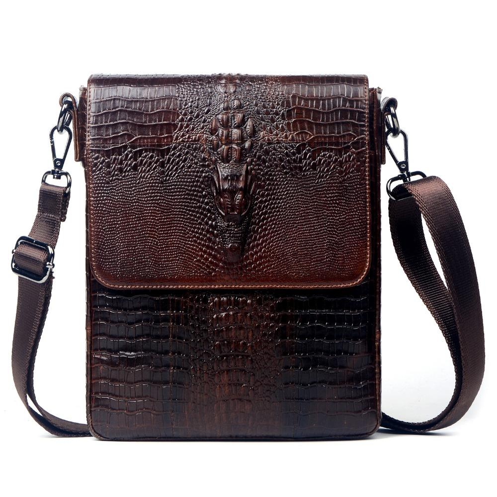 6e22176e44ed Wholesale Genuine Leather Crocodile Style Messenger Bags For Men Crossbody  Shoulder Bag Cowhide Male Ipad Tablet PC Package Handbag Black Handbags  Luxury ...
