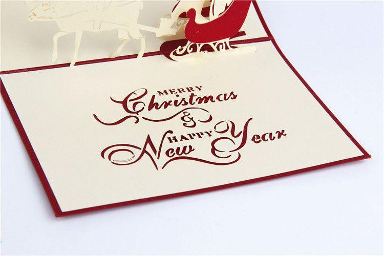 Nouvelles cartes de Noël à la main Creative Kirigami Origami 3D Pop Up Carte de voeux avec Santa Ride Desgin Cartes postales livraison gratuite
