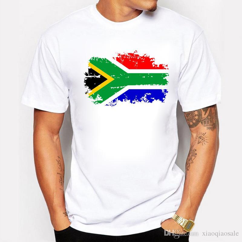 Avrupa Kupası Güney Afrika Ulusal Bayrak T Shirt Erkekler 100% Pamuk Kısa Kollu Üst Tee Nostaljik Bayrak Tasarım T-shirt Erkekler