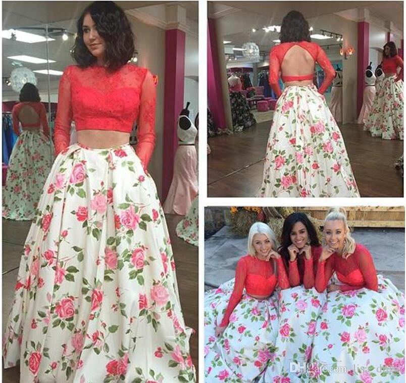 2017 Open Back Floral Printed Sexy Prom Dress 2017 Long Sleeves Lace Fitted A Line Satin Pageant Evening Formal Gown