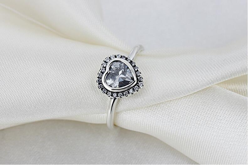 Anel de jóias anel de prata s925 jóias de prata em forma de coração de diamante sintético anel presente branco para enviar sua namorada esposa