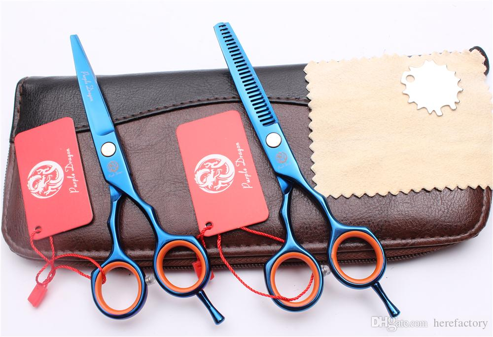 """Z1004 5.5"""" JP 440C Blue Purple Dragon Professional Human Hair Scissors Barber's Hairdressing Scissors Cutting or Thinning Shears Style Tools"""
