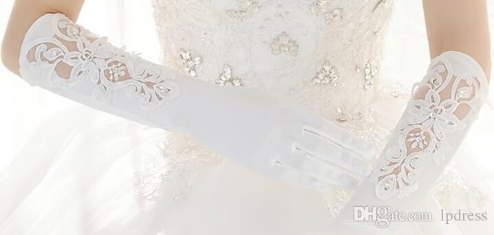 ivory Bridal Gloves Long Wedding Accessories Sheer with Applique Wedding Glvoes 2017 New Arrival Cheap