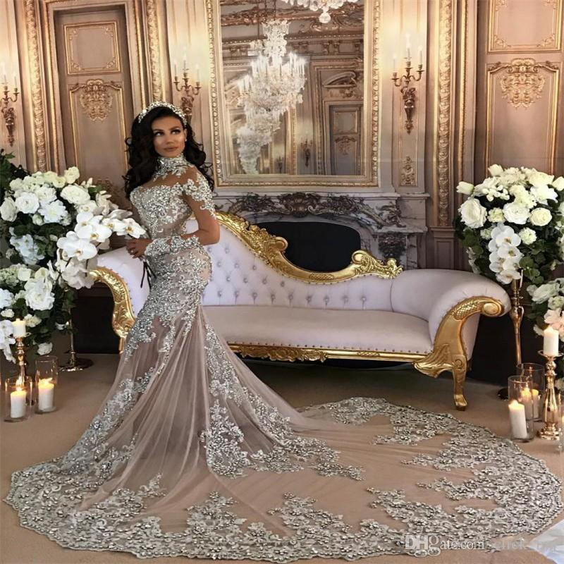Gorgeous High Neck Long Sleeves Wedding Dresses Sheer Neckline See