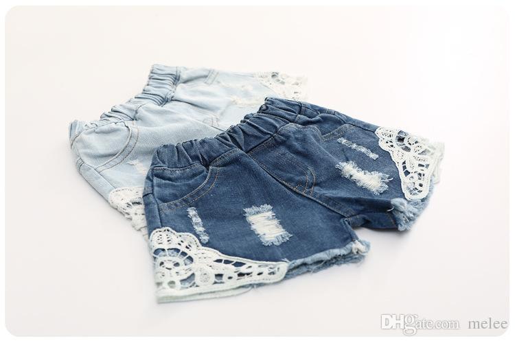 Sıcak satış 2017 Kızlar Yaz Dantel Kot Şort Çocuk Denim Dantel Mavi Pantolon çocuklar Pamuk şort bebek kot pantolon Çocuk Şort ücretsiz gemi