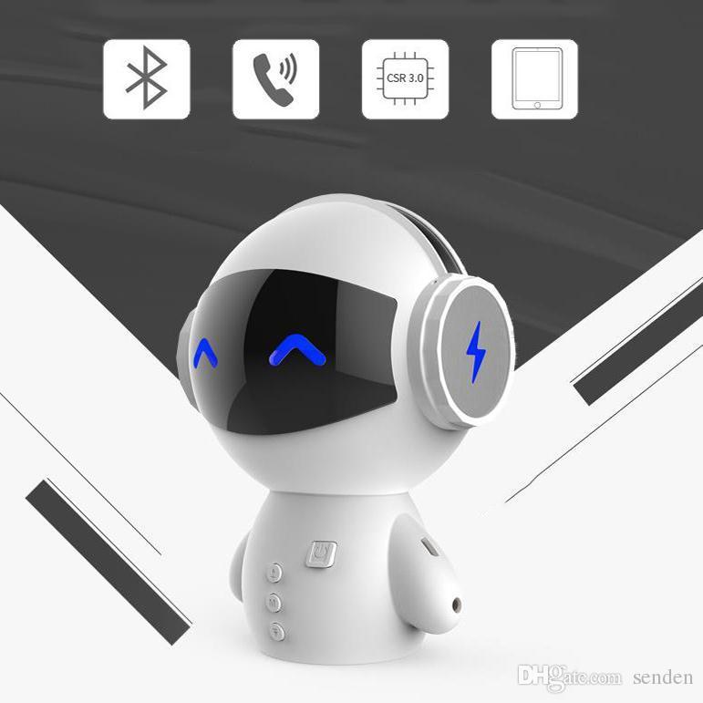 Mini robot portátil en forma de 3 en 1 altavoz de Bluetooth multifunción con soporte de banco de energía TF TFR Player MP3 Player Manos libres de llamadas Aux-in Subwoofer