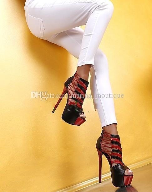 مثير قص خارج أحمر أسود منصة HighDress حفل زفاف أحذية للنساء 16CM الكعوب الصيف الجوارب feminino