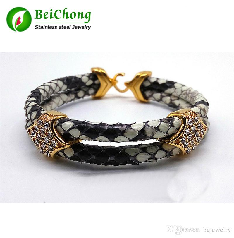 BC Fashion Python Skin Snake 5MM Men with Silver Stainless Steel BOX Circle Bangle Bracelet For Watch Gift