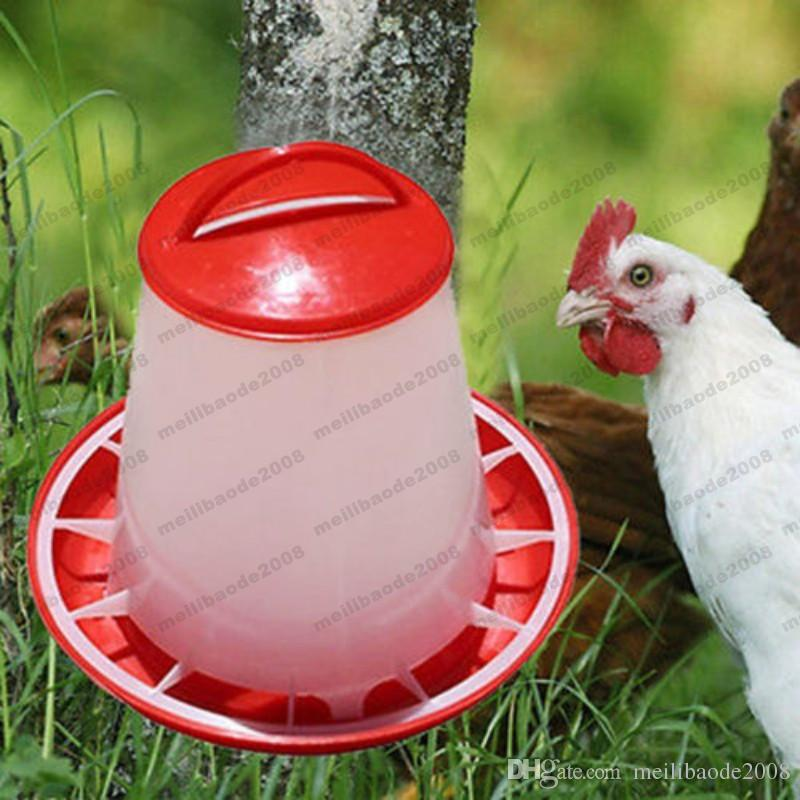 2017 NEW 1Pc Red 1.5kg Plastic Feeder Baby Chicken Chicks Hen Poultry Feeder Lid & Handle free shipping MYY