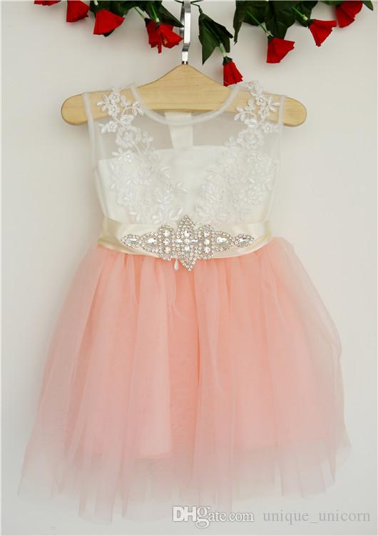 2017 Summer Kids Girls Crochet Lace tutu Dresses Baby Girl Bowknot Diamond Tutu Dress Baby Girl Party Dress children's clothing