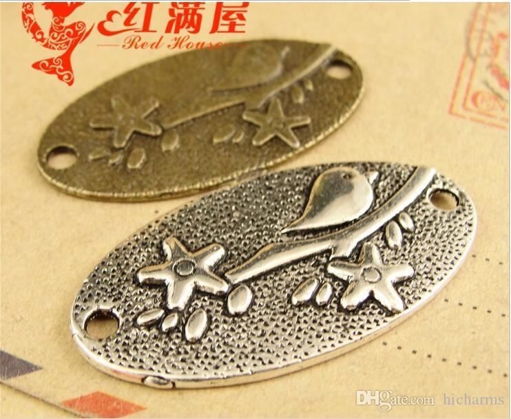 Los encantos del conector del pájaro del bronce antiguo de 36 * 19MM para la pulsera, metal cuelgan el colgante de la etiqueta de plata tibetana para el collar, mucho encanto de aleación de latón de zinc