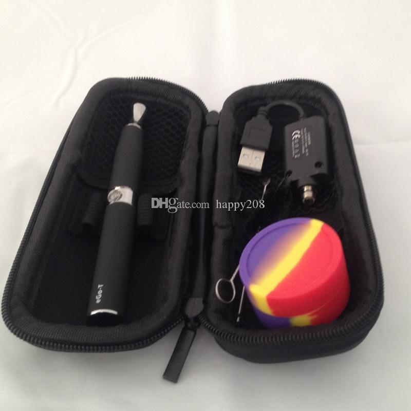 dual quartz coil ego-d skillet vaporizer pen kit with ego-t 650mah battery EGO Carrying Zipper Case skillet wax atomizer kit wax in stock
