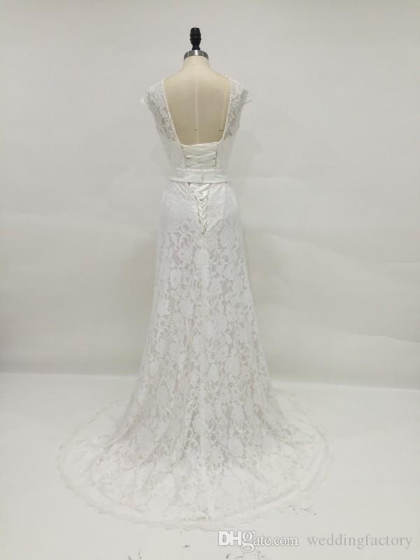 Vraie image dentelle robe de mariée pure col rond coiffée robes de mariée Vintage à lacets dos amovible ceinture brillante cristaux perles