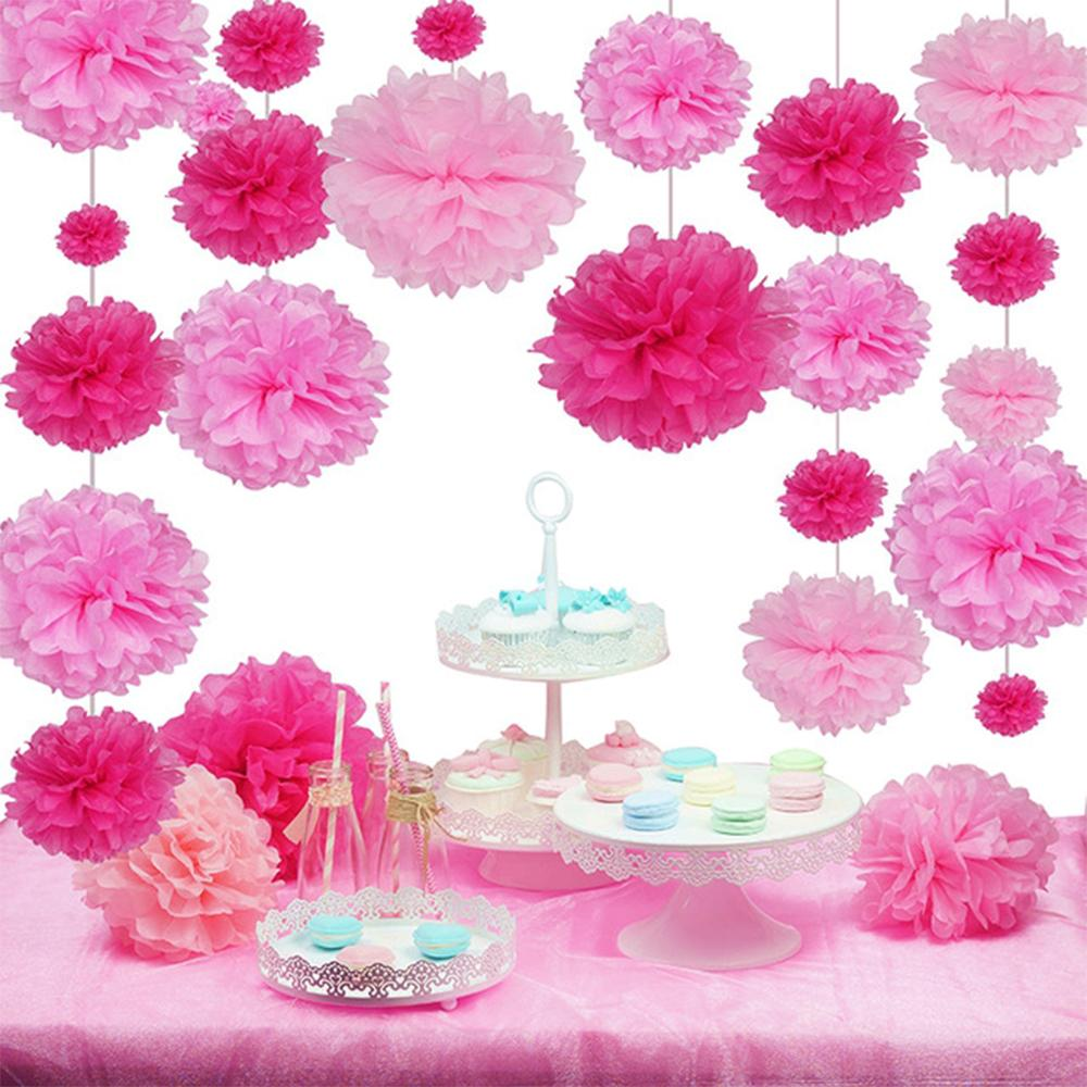 Sweet Pink Pom Pom Wedding Decorations Tissue Paper Pom Poms Hanging ...