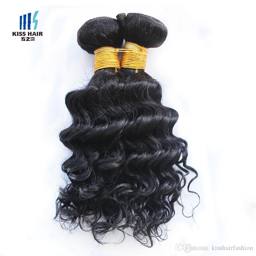 4 Pcs Indian Deep Curly Hair Weave 50g/pc Color 1B Black Cheap Human Hair Weave Extensions for Short Bob Style