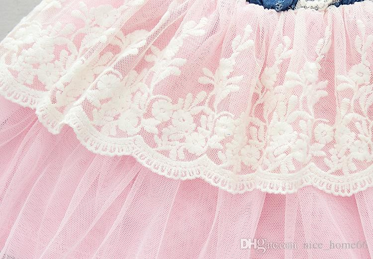 Девушки Джинсовое платье Девушка цветок Принцесса пачка платья летние дети без рукавов жилет кружева платье Ковбой чистой пряжи повседневное платье