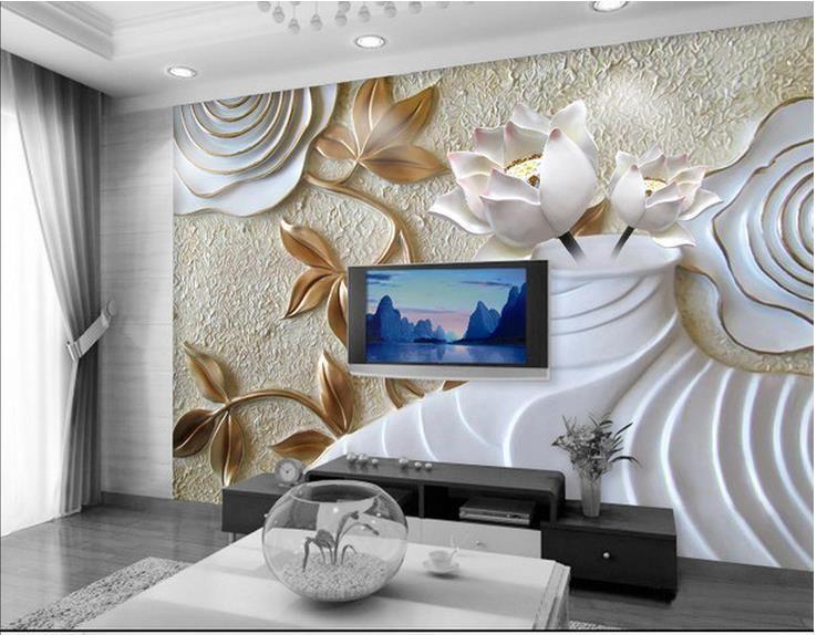 Custom Wall Mural 3d photo wallpaper custom wall mural wallpaper rose vase lotus tv