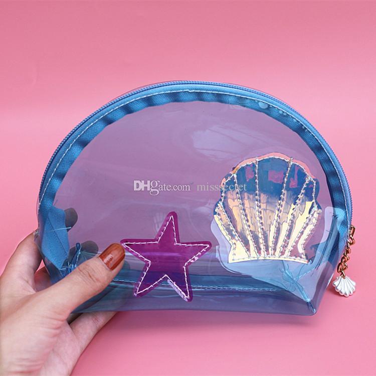 PVC filles mignonnes Transparent Cosmétique Sac Embrayage Poche Shell Sac À Main Clair Femme Voyage Maquillage Sac Voyage Trousse De Toilette