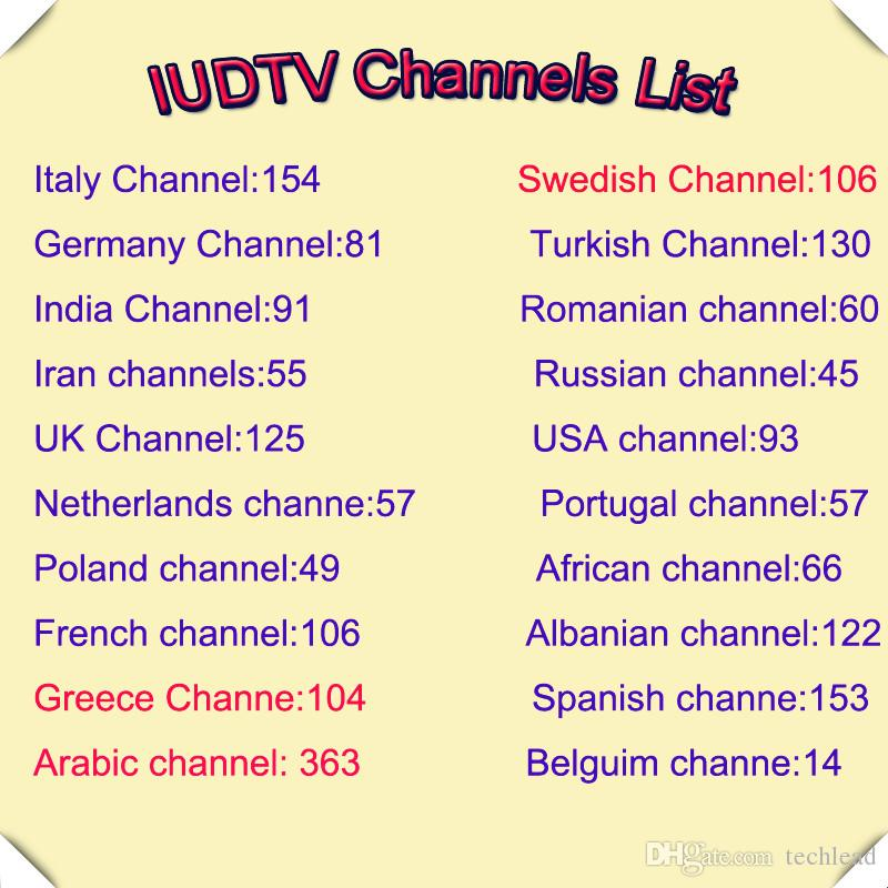 IUDTV Subscription European IPTV Channels Arabic Portuguese Dutch Italy Swedish Spanish TV Package Indian African French USA UK Account M3U
