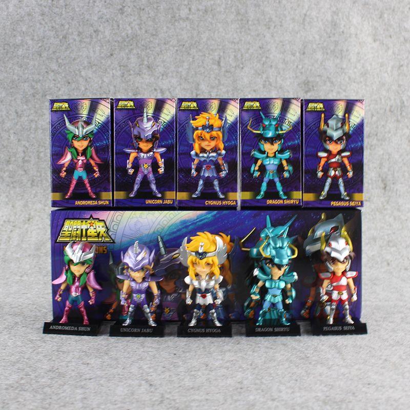 5 unids / set Anime Saint Seiya Figura Ikki Shiryu Hyoga Seiya Shun PVC  Figuras de Acción de Colección Modelo Juguetes 10 cm