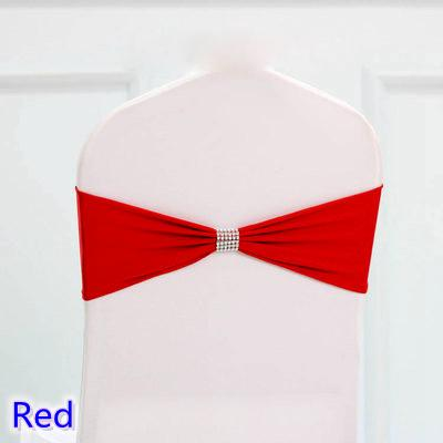 Red colour tie bands Lycra sash chair sash Bow tie ribbon For Wedding Party Banquet Decoration for sale with shiny belt
