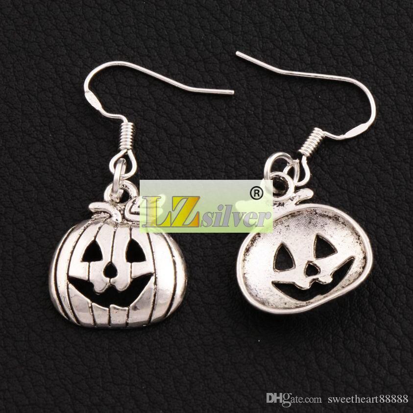 Halloween Pumpkins Earrings 925 Silver Fish Ear Hook Antique Silver Chandelier E1098 36.1x15.9mm