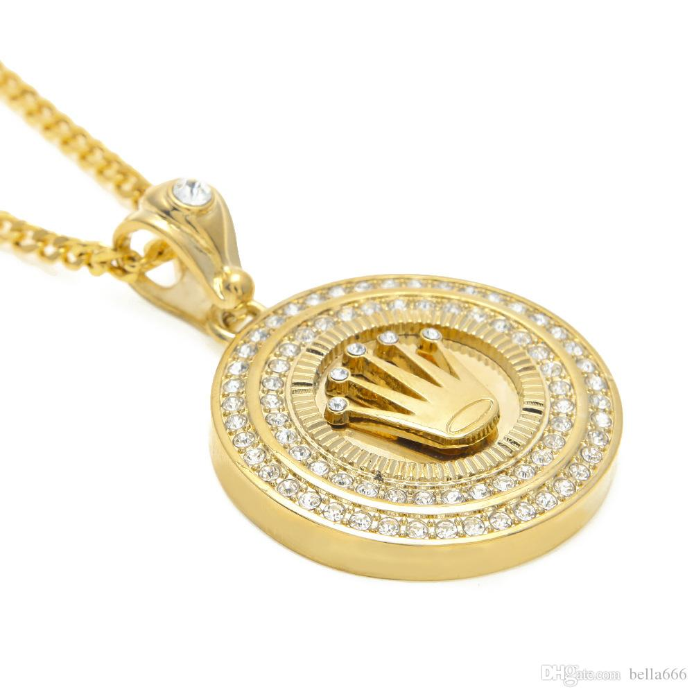 Men Diamond Crown Round Maschio Hip-Hop Placcato oro Corona pendente Tag Collana catena cubana