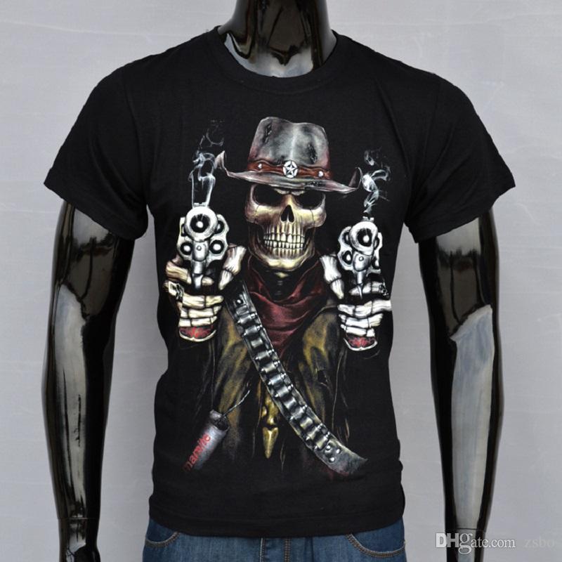 Halloween Men'S Fashion Streetwear Skull Gun Halloween T Shirt ...