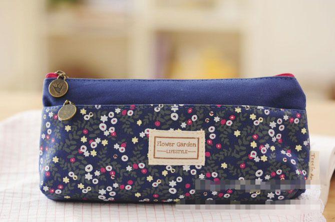 Nueva Moda Pequeño estampado de flores de múltiples capas de doble cremallera lápiz bolsas caso de papelería bolsa de maquillaje del envío del kit gratuito