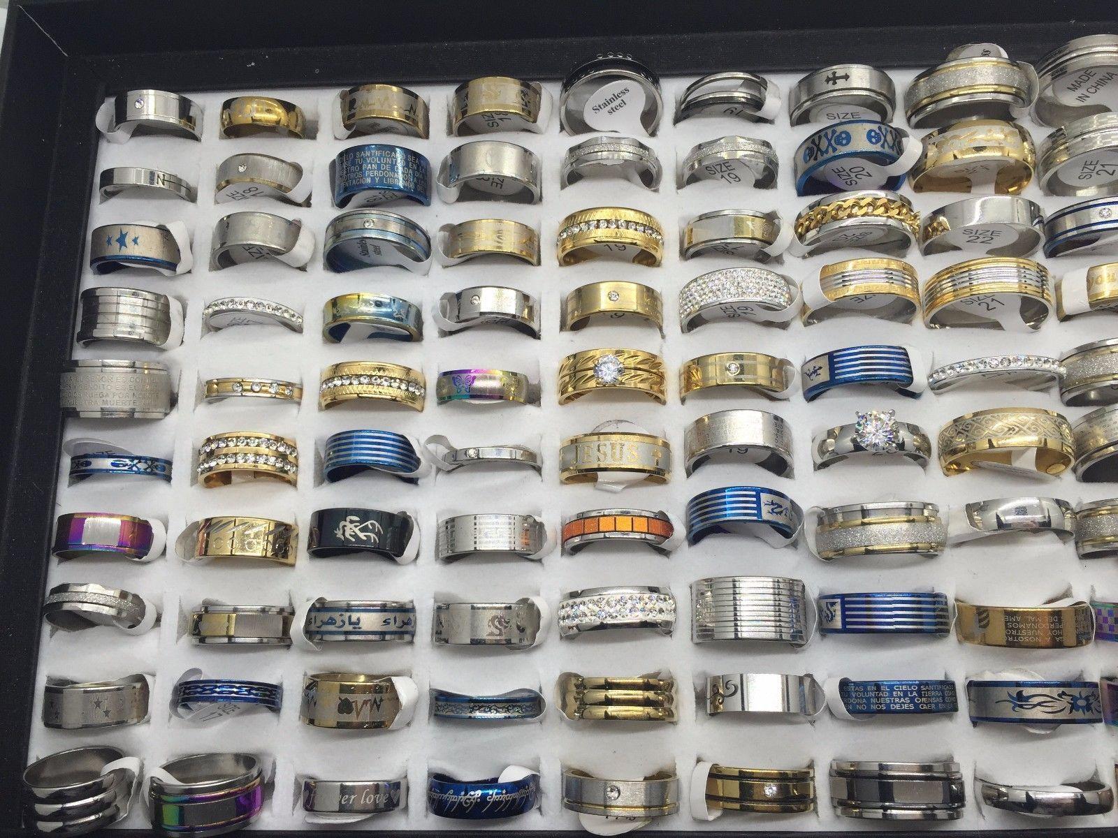 Toptan 50 adet sürü Erkekler Kadınlar Için Moda Mix Tasarım Paslanmaz çelik yüzük Takı Hediye Yüzük Alyans
