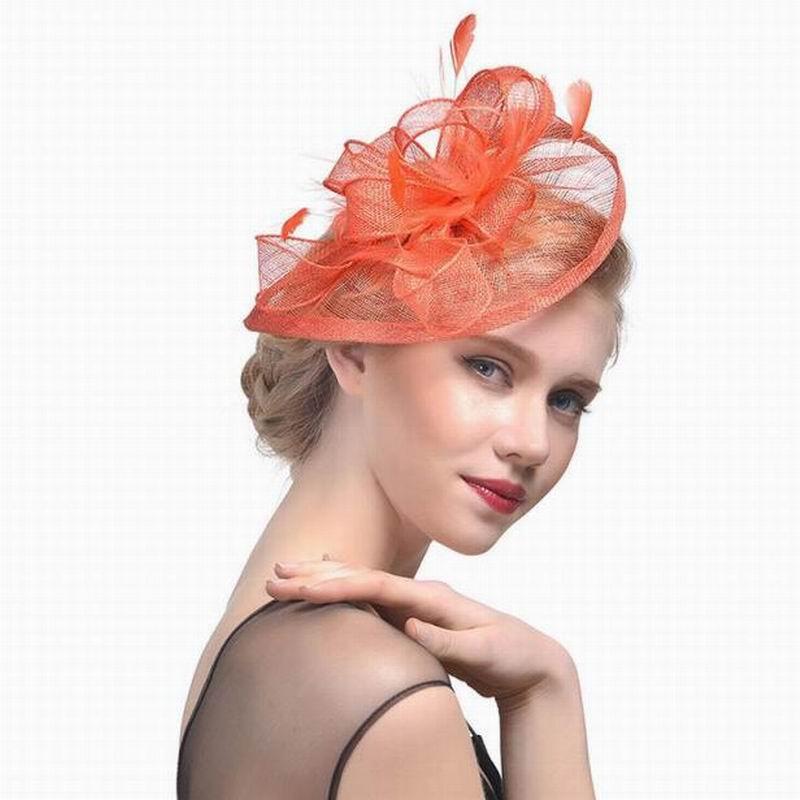 Wedding Feathers Hat Large Headdress Cocktail Wedding Bridal Tiara Hair Accessories Bridal Headbands Feathers Hair Clip Hat Orange Cap