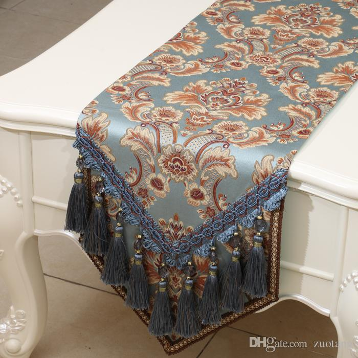 120 Inch Extra Long Multi Tassel Table Runner Luxury Embossed Jacquard High  End Dining Table Pads Placemat Europe Style Table Cloth Turquoise Table  Runner ...