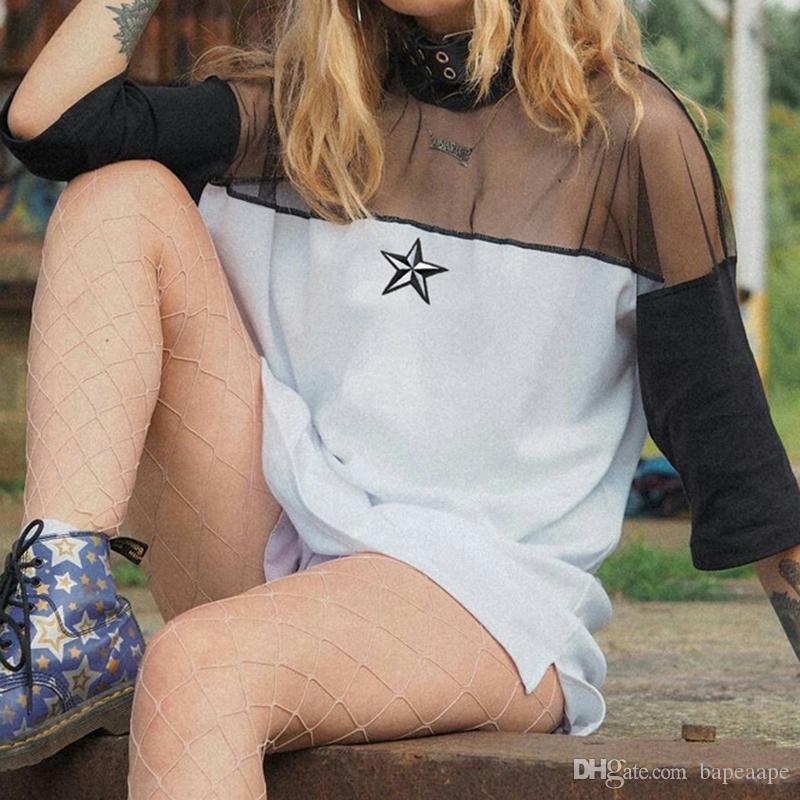Kadın Moda Lüks Yuvarlak Boyun Kısa Kollu Gevşek Kovboy Net İplik Dikiş Zımba Elbiseler Ücretsiz Nakliye