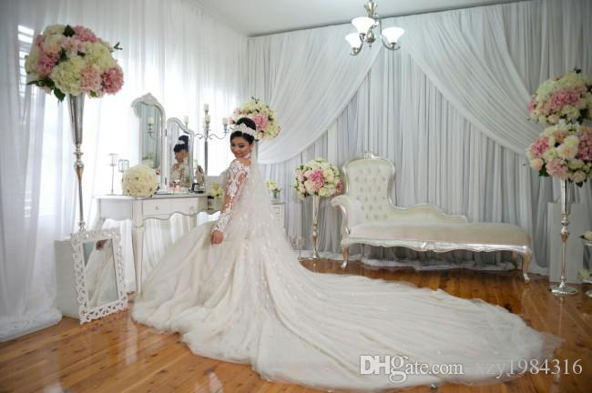 Dubai High-Neck Mermaid Wedding Dresses Bridal Gowns Sheer Long Sleeves Beaded Lace Applique Wedding Gown Sexy Tulle Long Bridal Dress