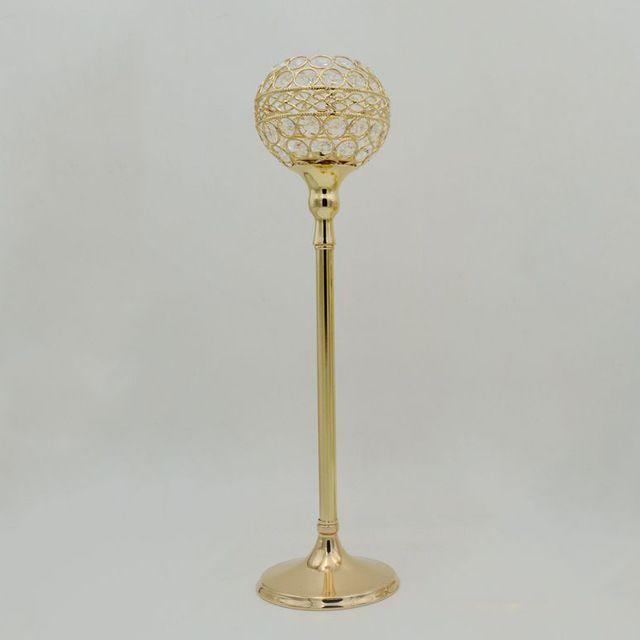 10 teile / los Kristallkugel Kerzenhalter Silber / Gold Metall Kerzenständer Hochzeit Tabellenmittel Für Hauptdekoration Kerzenständer