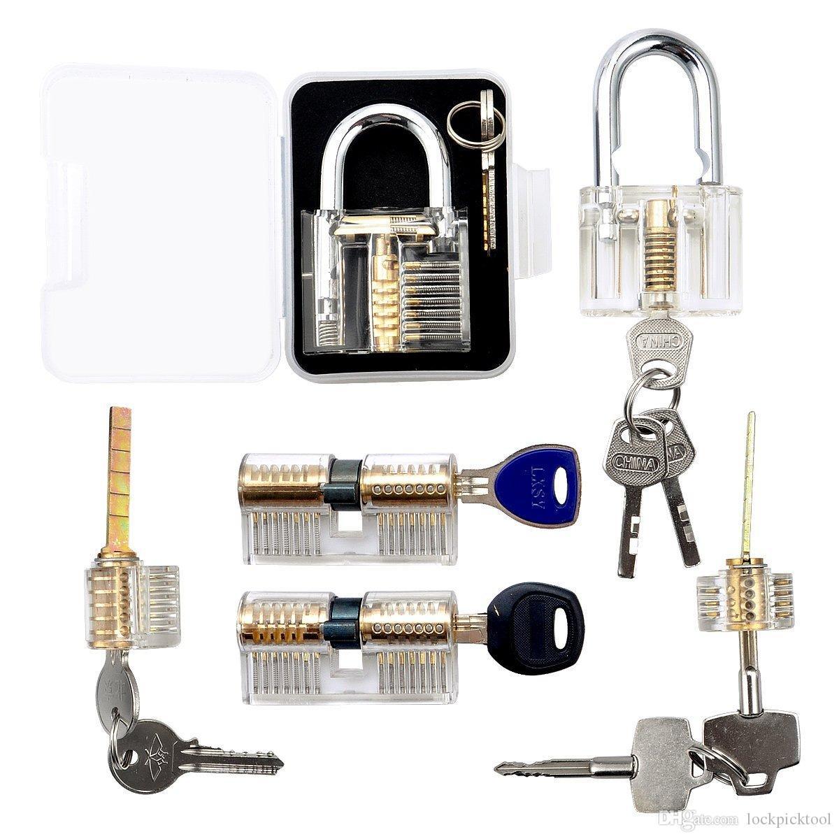 6шт практика блокировки набор слесарь мастерство Trainning отмычку инструмент прозрачный вырез Кристалл контактный стакан с ключом замок для слесаря начинающих
