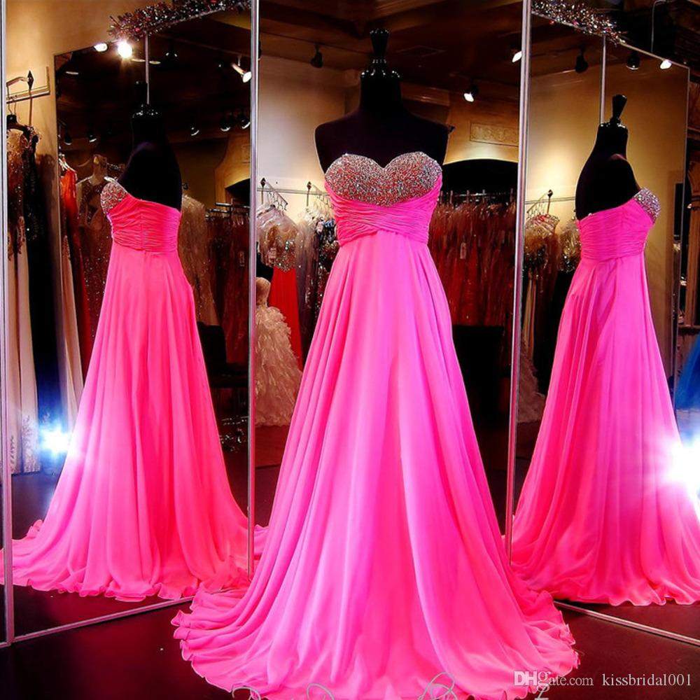 13496b22d54 Bling Sexy Chiffon 2018 Long Prom Dresses Formal Evening Gowns Sweetheart  Prom Party Dresses With Crystal Beaded Pleats Sweep Train Good Prom Dress  Websites ...