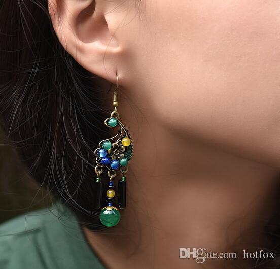 National wind new original agate cashew earrings quality antique earring for women handmade DIY fashion stud earrings gift