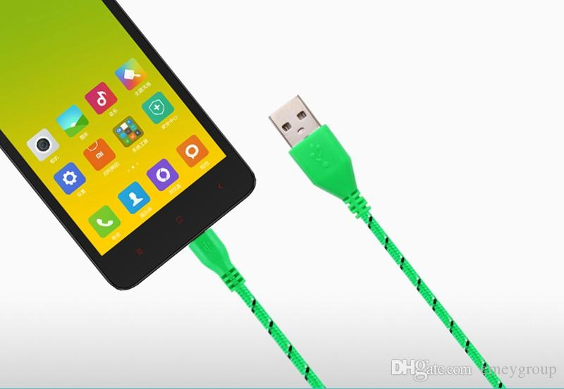 HOT 1M/2M/3M Nylon Braided Micro USB Cable, Charger Data Sync USB Cable Cord For Android samsung smart phone Cell phones