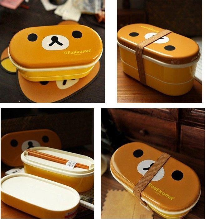 Hot DHL / Brun Micro-Ondes Rilakkuma Bento Jaune Micro-ondes Nostrils Poulets Multicouches Enfants Lunch Box avec Des Baguettes