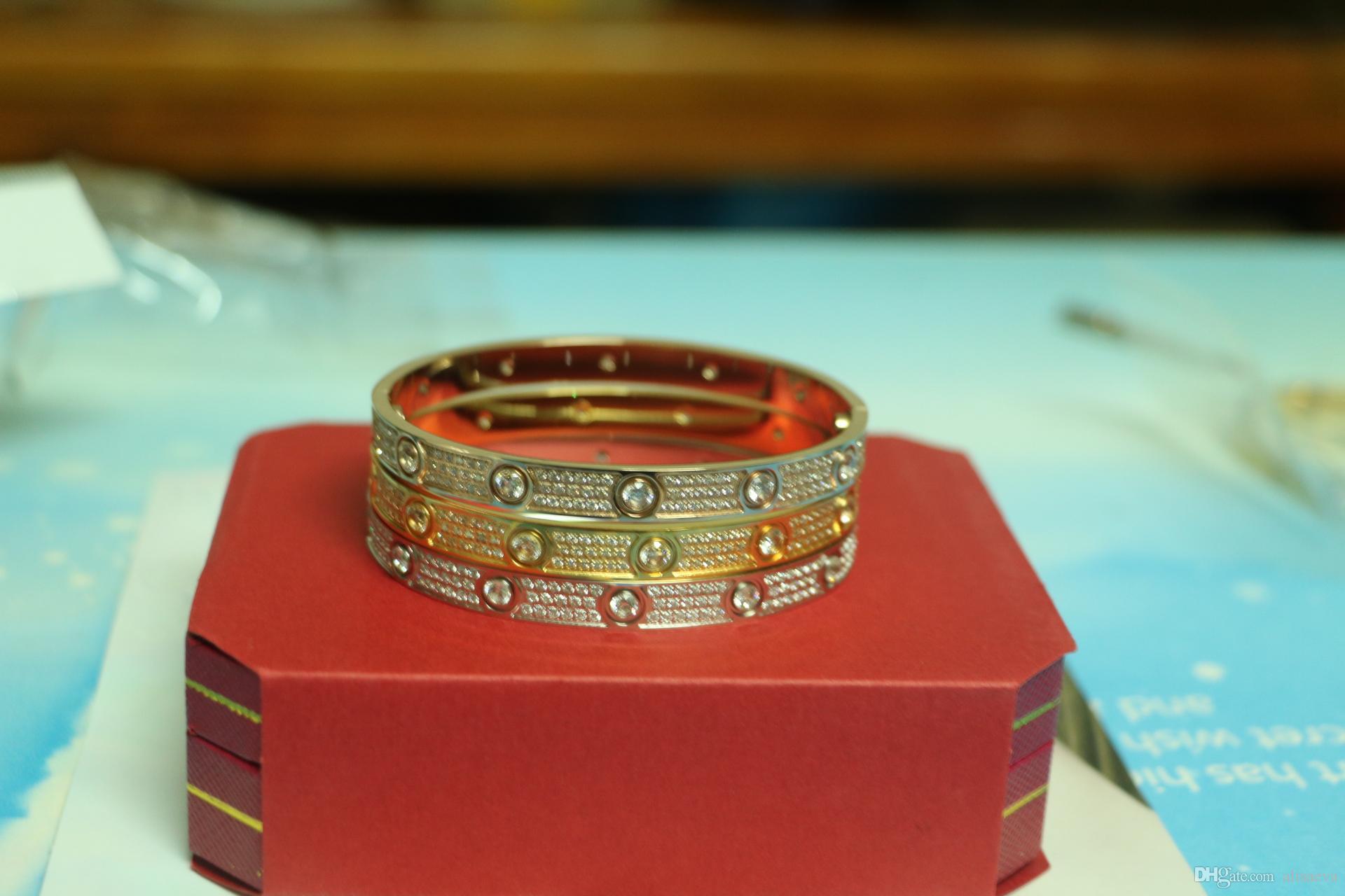 Alta qualità pieno con diamante CZ Marca Amore Vite H Bracciale donna bracciale amatoriali amore bracciali Pulseira Feminina Masculin con scatola originale