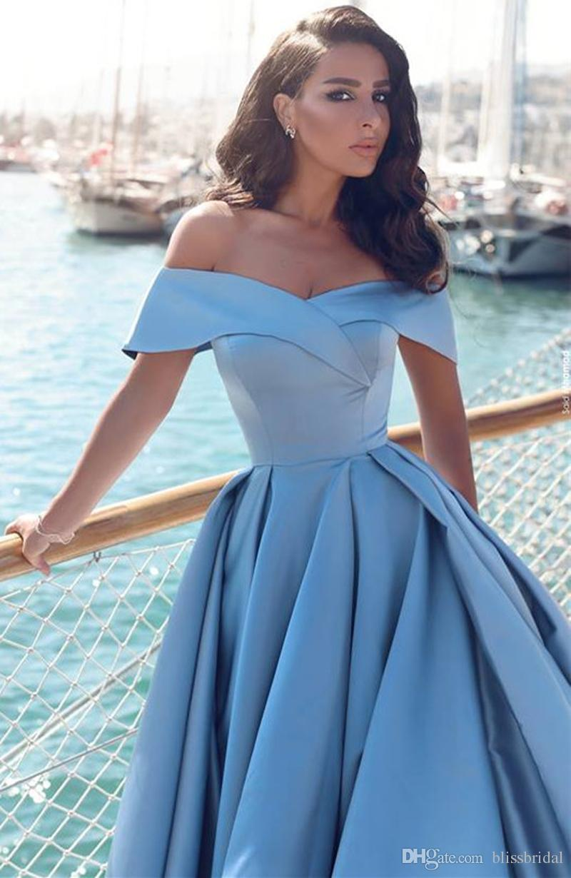 Glamorous 2017 Off-the-Shoulder A-Line Evening Dress A-Line Sexy Side Split Sweep Train Prom Gown Fast Shipping