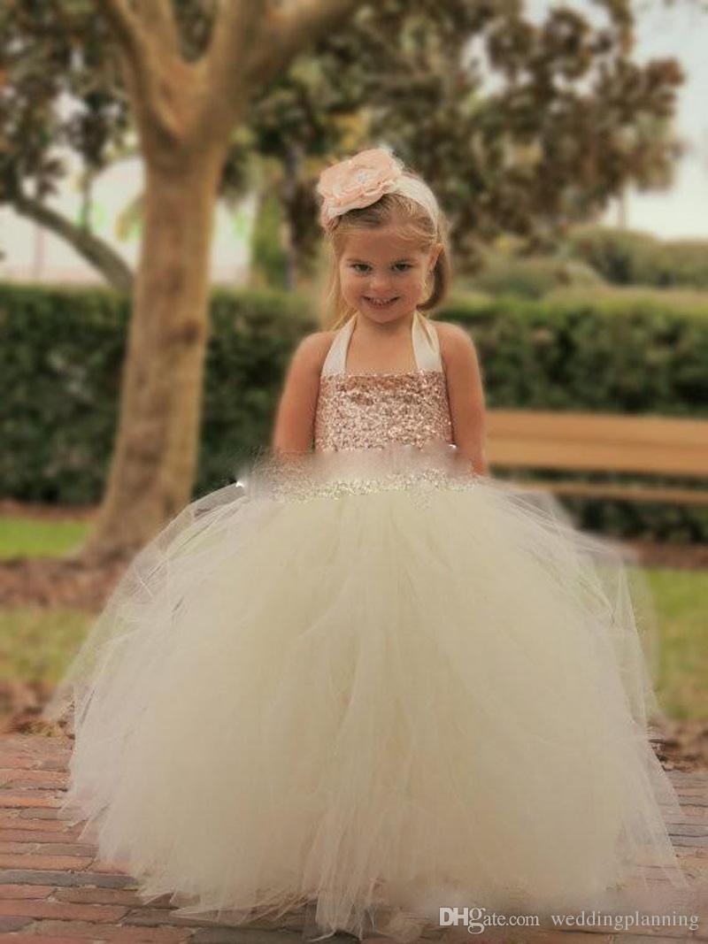2018 Bling Bling Rose Gold Sequin Flower Girl Dresses Cute Ivory Halter Floor Length Ball Gown Cheap Little Girls Pageant Dresses