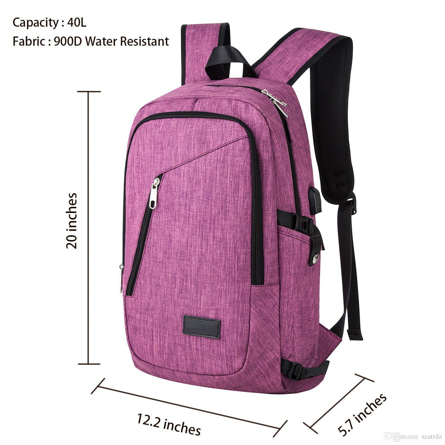 Canvas Backpack Water Resistant Polyester Laptop Backpack With Usb ...