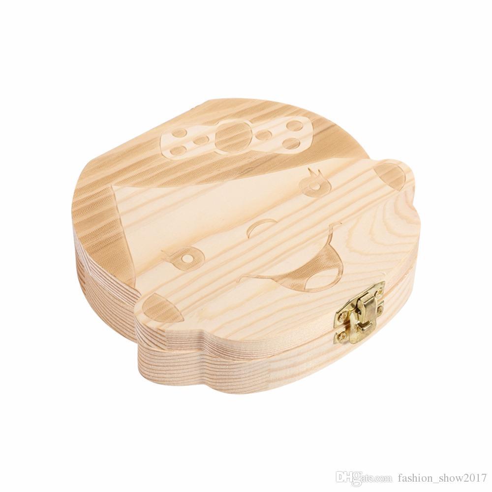 طفل خشبي أسنان حفظ صندوق حليب الأسنان المنظم شخصية الطفل الأسنان مربع تخزين لطيف مربع تذكارية نفضي للأطفال