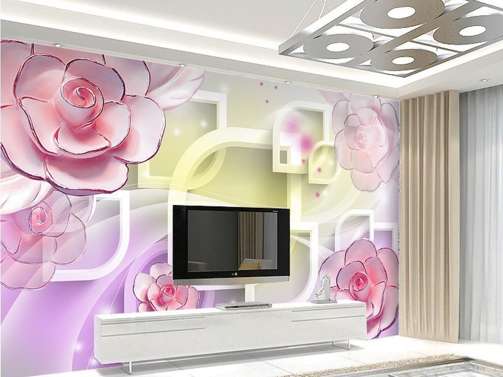 3d frame pink purple carved flowers mural 3d wallpaper 3d wall 52