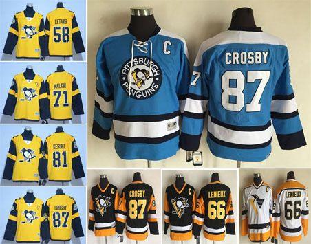 09a520477 ... Sidney Crosby 2017 Kids Pittsburgh Penguins Hockey Jerseys 58 Kris  Letang 71 Evgeni Malkin 81 Phil Kessel 87 ...