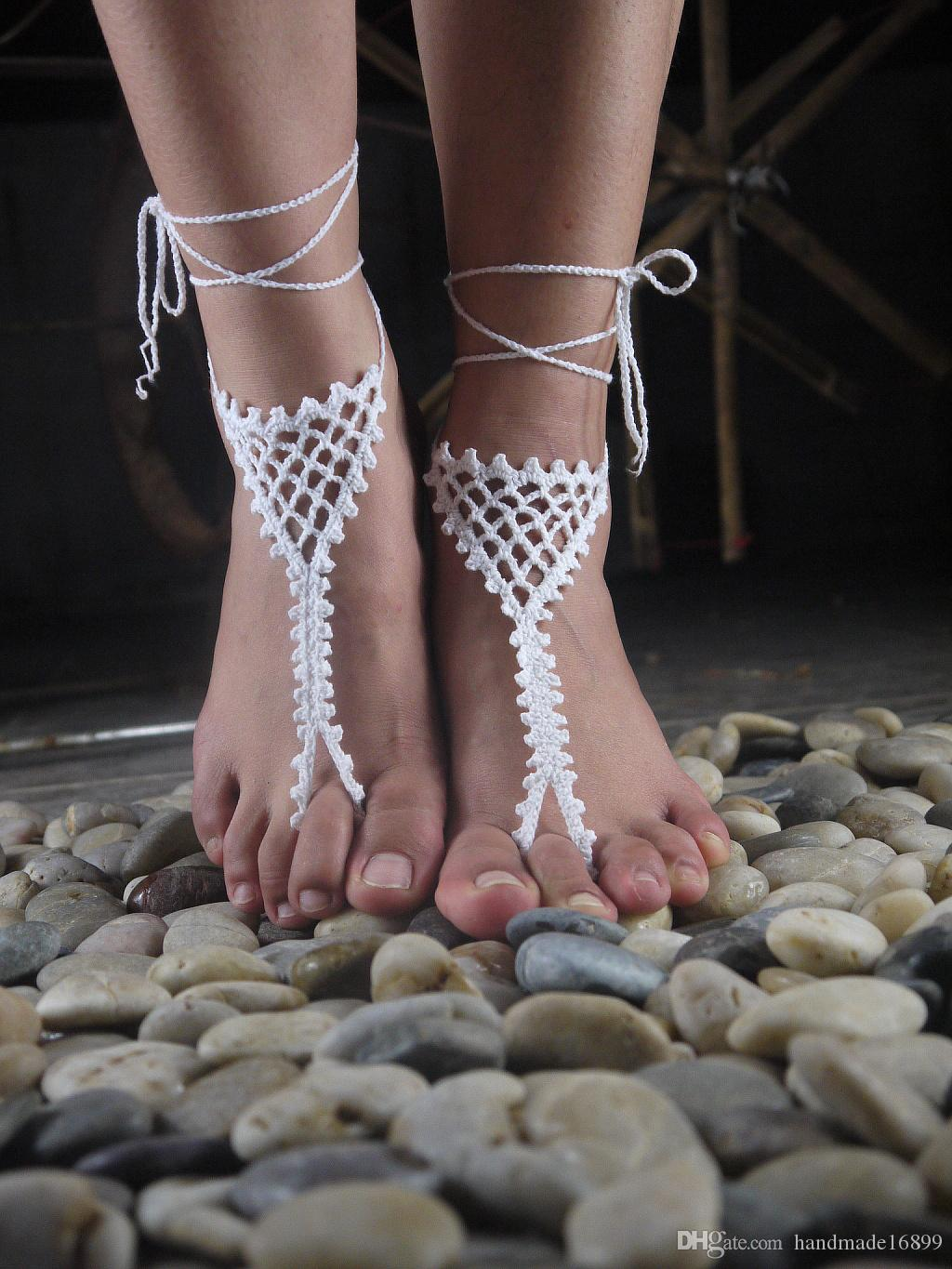 Handmade Fishing net white blue sandy barefoot sandals bridal sandals wedding shoes decoration