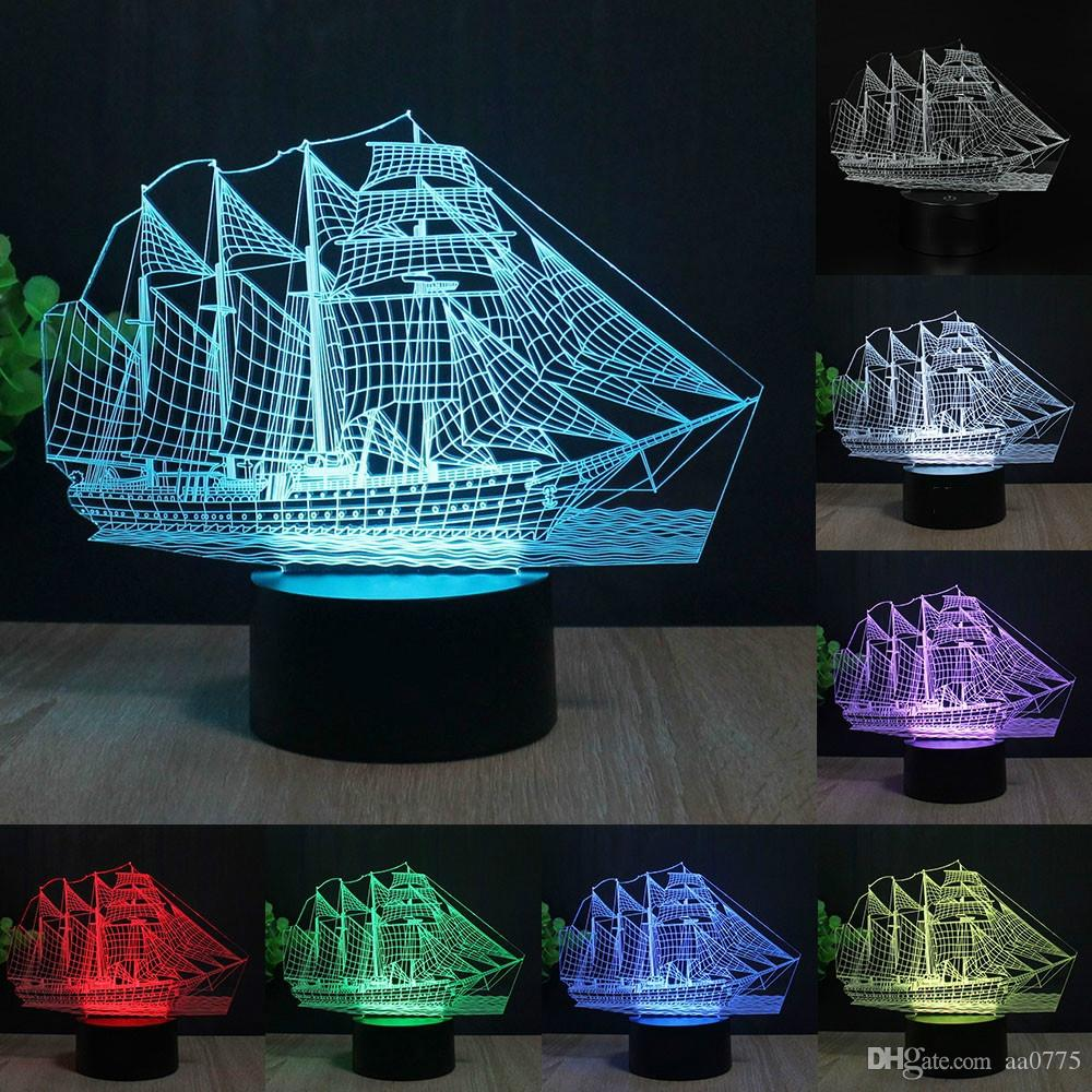 Boat 3d led table lamp colorful change acrylic night light home boat 3d led table lamp colorful change acrylic night light home decoration lamp gifts boat lamp night light online with 1968piece on aa0775s store geotapseo Image collections